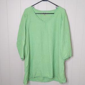 Flax Green & Blue Striped Linen Tunic